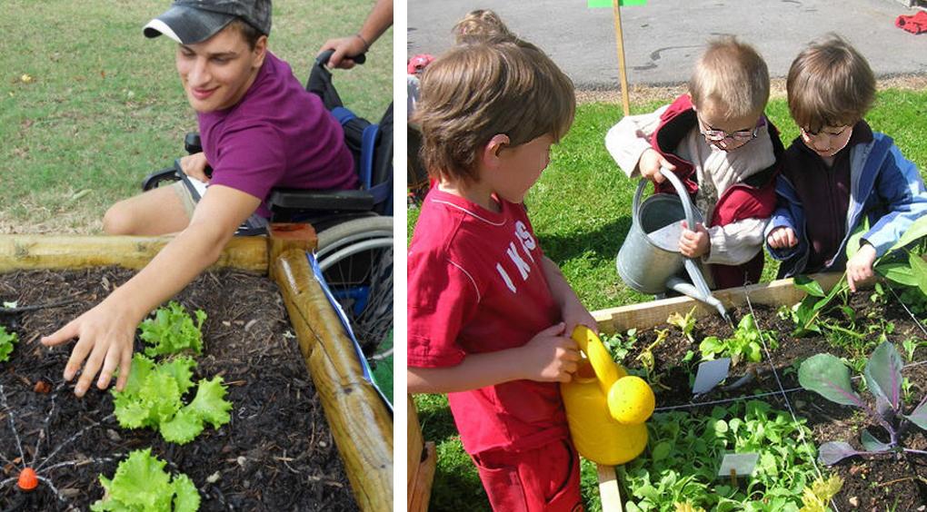 bambini disabili in carrozina coltivano orto