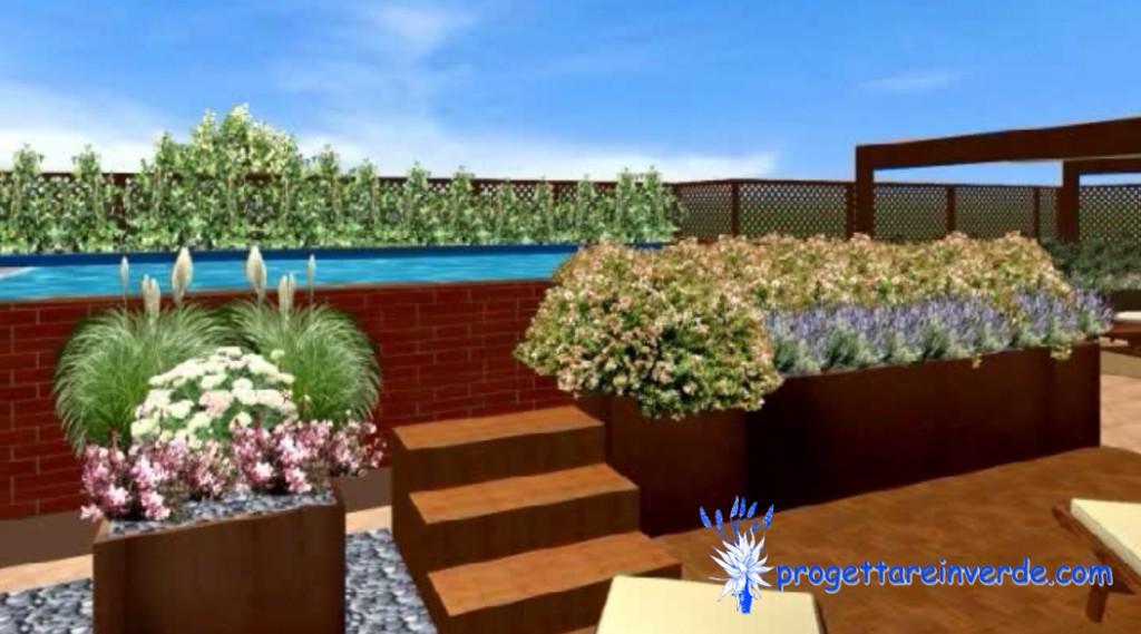 piscina fuori terra con scala legno gazebo fiorirere corten