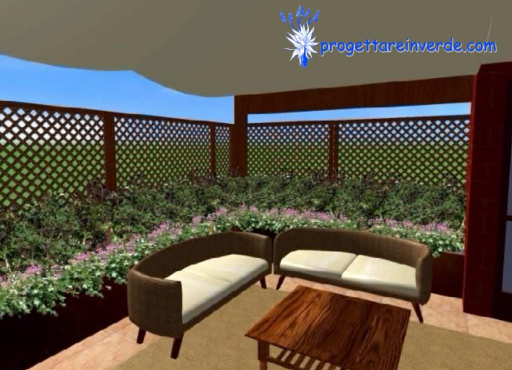 terrazza in condominio con piante poltrone in vimini e tavolo in legno