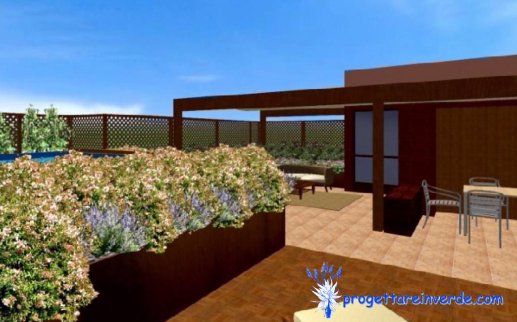terrazza in condominio con fioriere in ferro fiori e piscina fuori terra