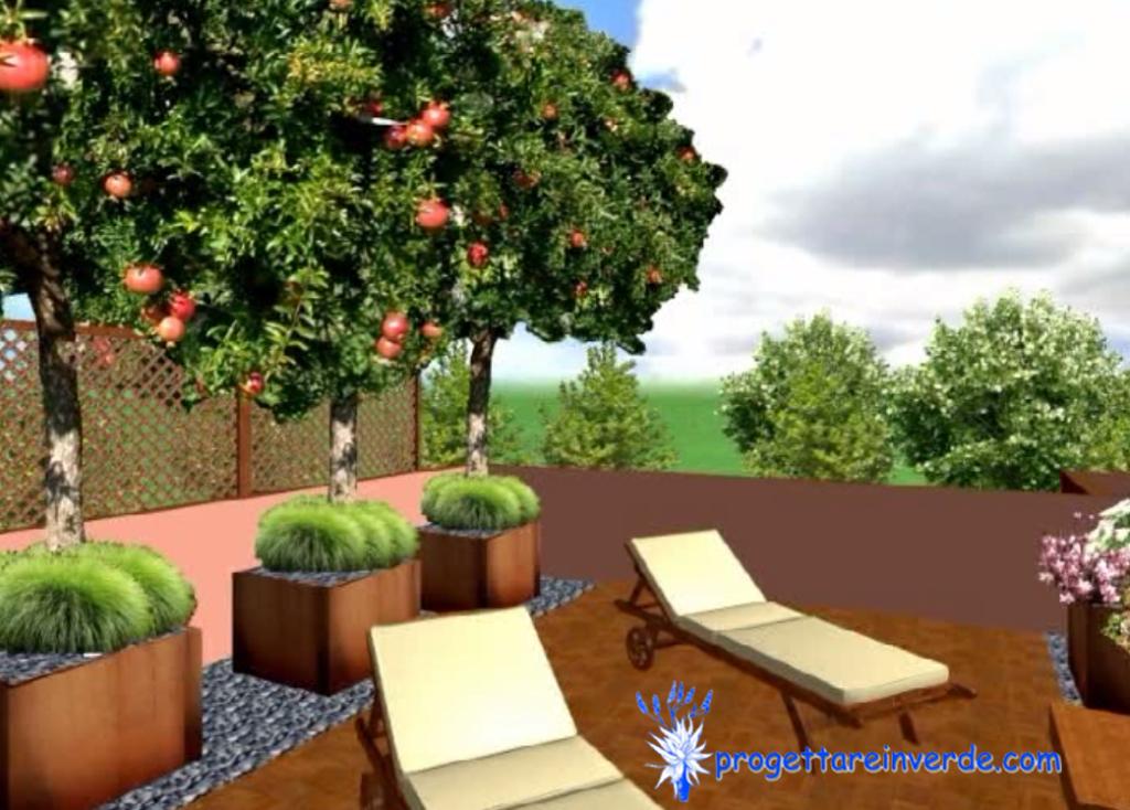 terrazza in condominio con pavimento in parquet alberi melograno con vasi in ferro corten sdraio