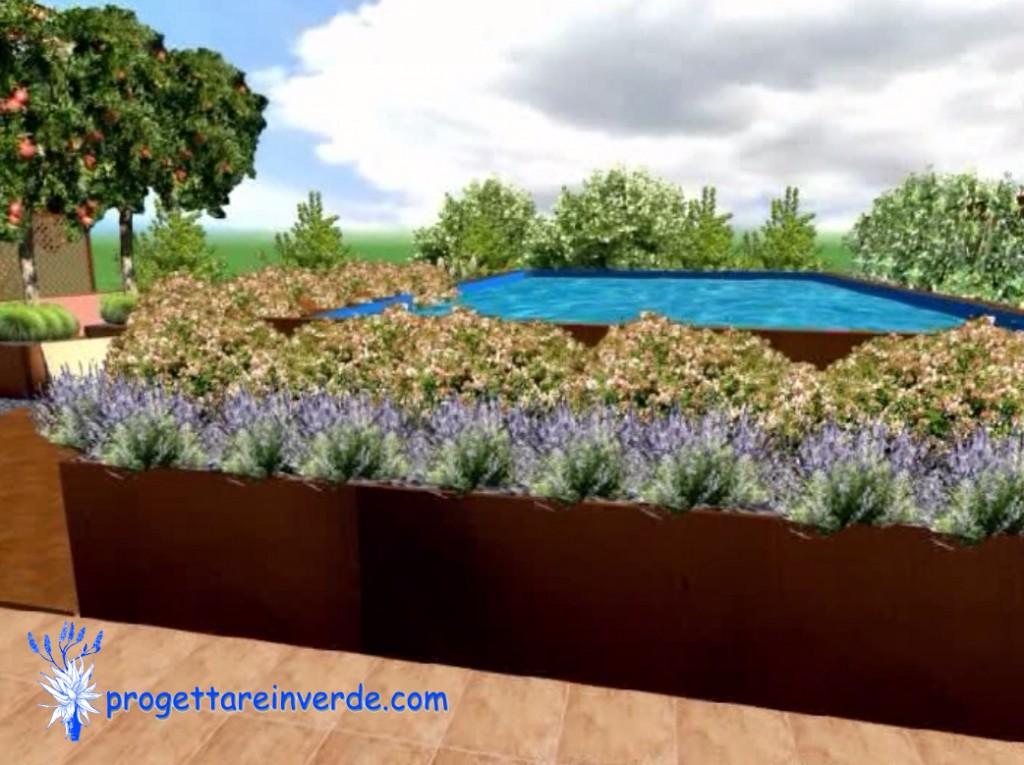 terrazzo in condominio con piscina fuori terra e piante
